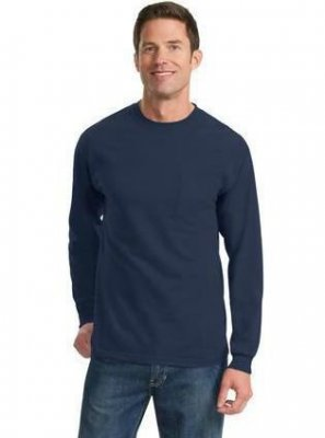 100% Cotton Long Sleeve T-Shirt with Pocket