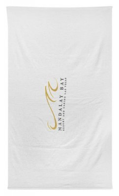 "White 10.5lb./doz. 30"" x 60"" Standard Weight Beach Towel"