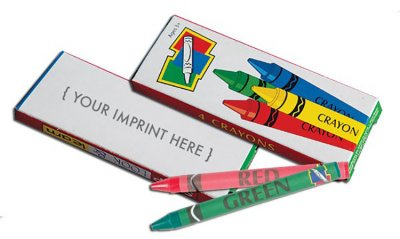 4-Pack Box of Imprinted Children's Crayons