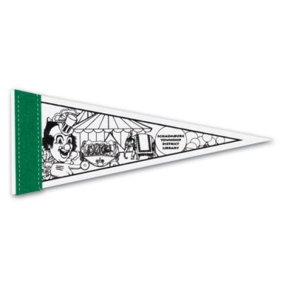 "1"" Sewn Strip White Pennant"