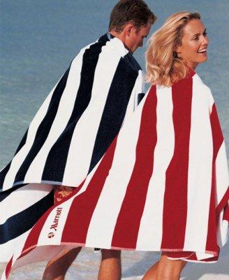"Horizontal Cabana Stripe 21lb 40"" x 80"" Signature Beach Towel"