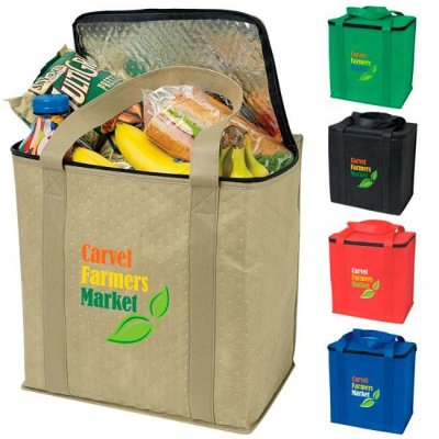 "12.75"" x 13.5"" x 9"" Zippered Insulated Grocery Tote"