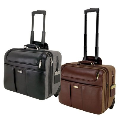 Brown Napa Leather/Canvas Trolley Case
