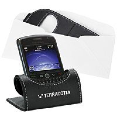 Black Leatherette Mobile Phone Holder