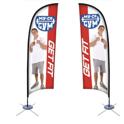 9' Razor Sail Sign Banner Kit (Double-Sided)