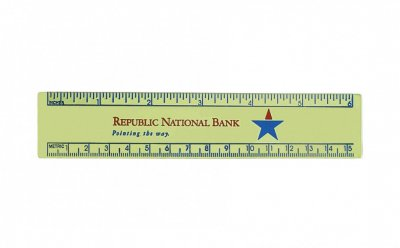 "Gold Or Silver Aluminum 6"" Ruler/ Die Struck"