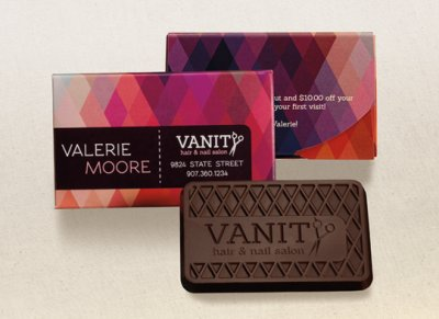 "Engraved Milk or Dark Chocolate Business Cards in Clear Wrappers 2"" x 3"""