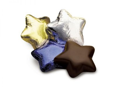 Case of 100 Dark Chocolate Stars in Gold, Silver and Blue Foils
