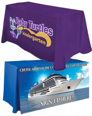 "Counter Height (42"" Tall) 6ft Table Cover w/ Full Color Imprint"
