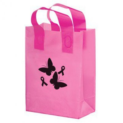 PINK AWARENESS COLOR FROSTED SOFT LOOP SHOPPER BAG - FLEXO IMPRINTED