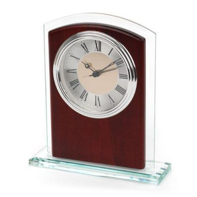 Glass & Wood Desk Alarm Clock - Silver Bezel