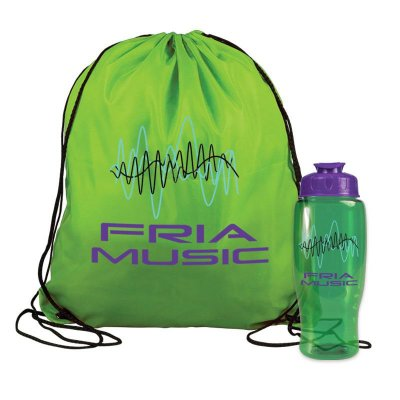 Drawstring Backpack with Bottle Combo Kit