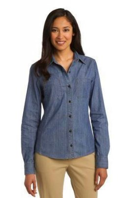 Port Authority Ladies Patch Pockets Denim Shirt