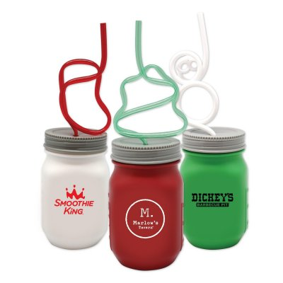 KRAZY STRAW HOLIDAY MASON JARS