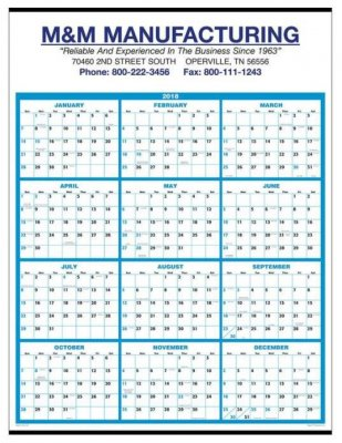 Single Sheet Wall Calendar - Full Year View 2021