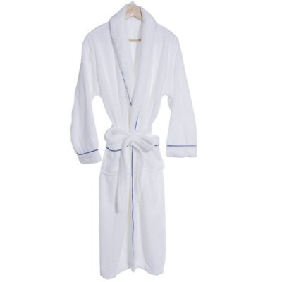 Coral Plush Robe With Trim