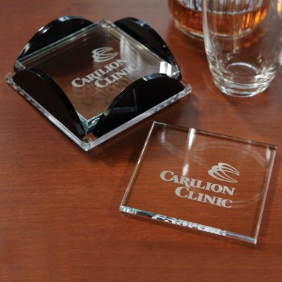 Square Glass Coaster Set