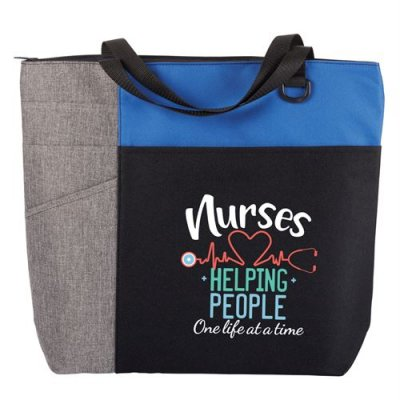 Nurses: Helping People One Life at a Time Blue Ashland Tote Bag