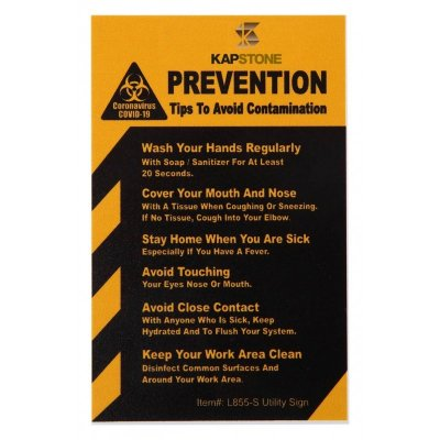 COVID-19 Coronavirus Prevention Custom Utility Sign 2.5'' x '' Hard 60 Mil Styrene Card