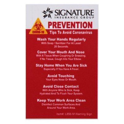 COVID-19 Coronavirus Prevention Custom Warning Sign 2.5'' x 4'' Hard 60 Mil Styrene Card