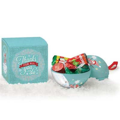 Metal Ornament w/ Hershey's Holiday Miniatures Chocolates in Holiday Gift Box