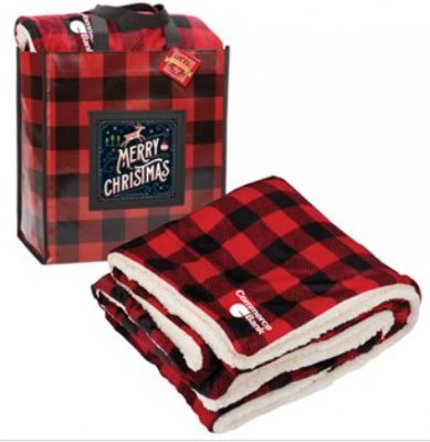 Buffalo Plaid Mink Sherpa Blanket & Laminated Tote Gift Set With Holiday Gift Card - Personalization