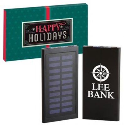 Thanks For All You Do 8000 mAH Solar-Powered UL® Power Bank In Holiday Gift Box
