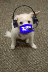 Cute Peaches Dog with Headset in face mask