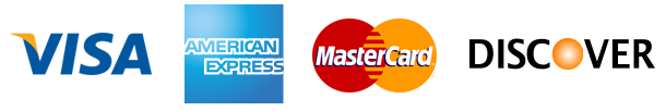 We accept Visa, American Express, Master Card, and Discover credit cards